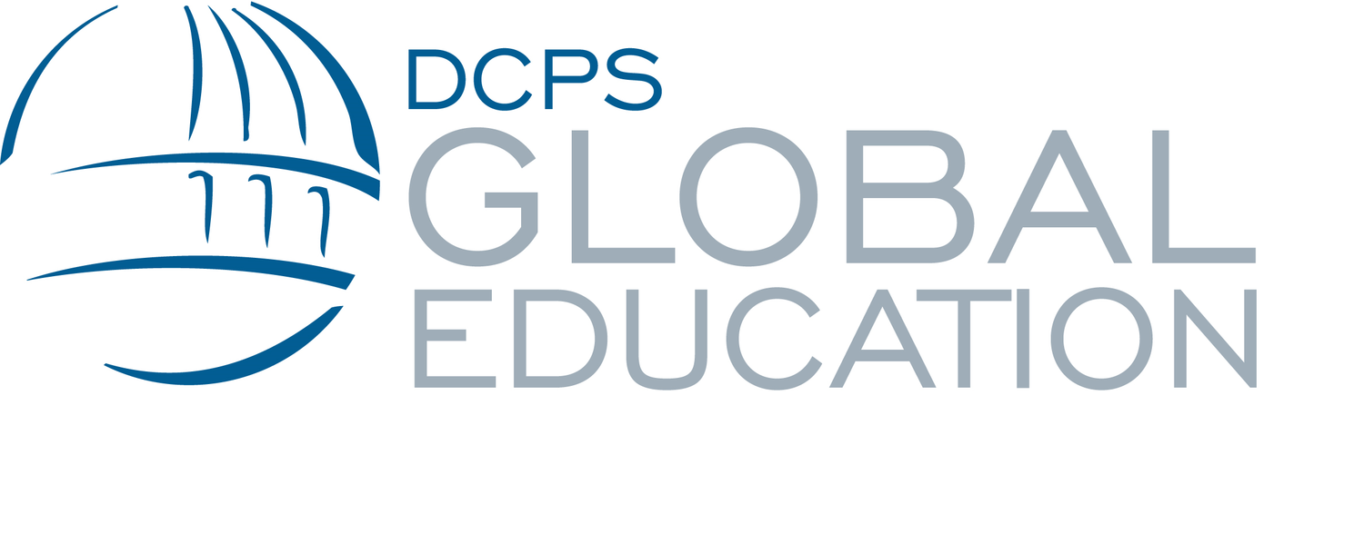Stylized globe next to text reading DCPS Global Education