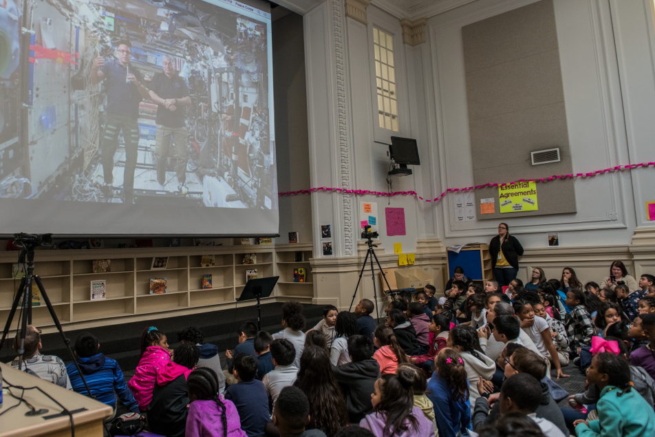 NASA Astronaut and returned Peace Corps volunteer Joe Acaba spoke live February 7 from the International Space Station with students at H.D. Cooke Elementary School, Acting Peace Corps Director Sheila Crowley, and a global audience virtually.