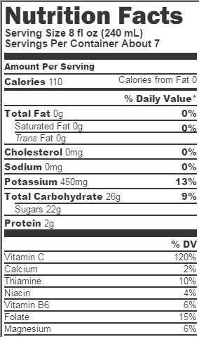 Tropicana Nutrition Facts