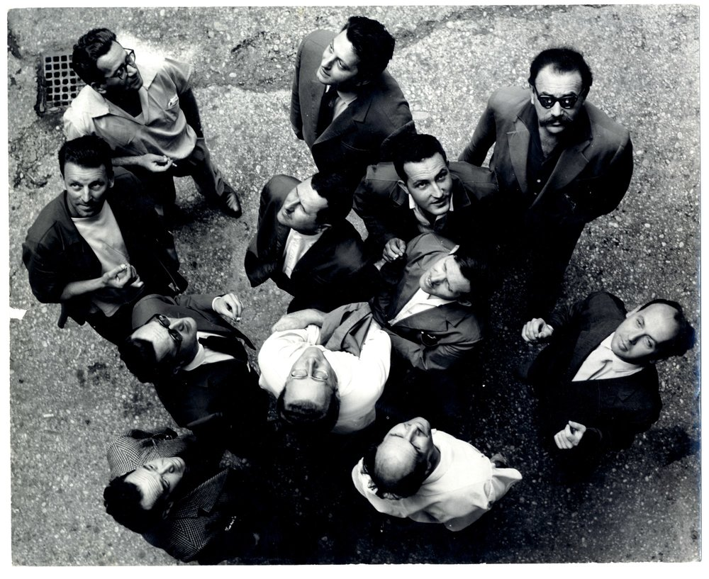 Gorgona Group, Gorgona is Looking at the Sky, 1961,  bw photograph, collective work,242 x 299 mm, photographer Branko Balić.