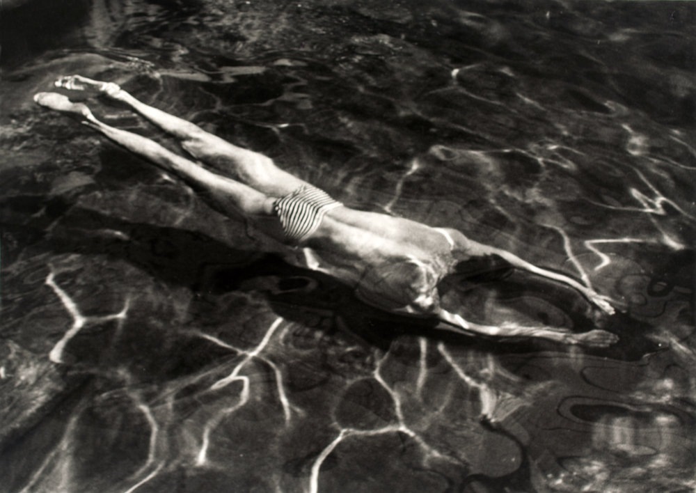 André Kertész 1894-1985, Underwater Swimmer, Esztergom, Hungary, 30 June,1917, Photograph, gelatin silver print on paper, 32 x 45 mm, The Sir Elton John Photography Collection, © Estate of André Kertész/Higher Pictures.
