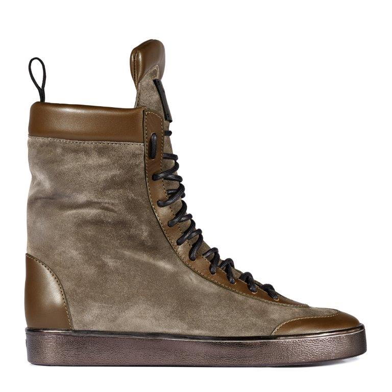 JAVAAD: Inspired by classic boxing designs, a streamlined lace-up sneaker boot crafted in gray-brown suede and trimmed in chocolate leather.