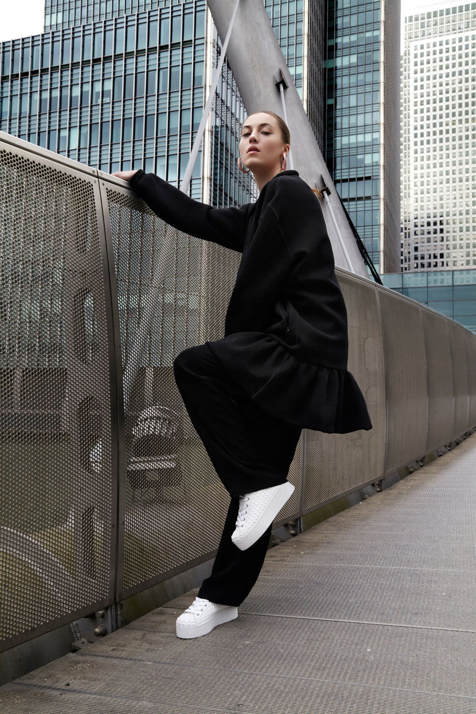 Oversized Sweater: Pop Pr, Troussers: Pop Pr, Platform Trainners : Ash hoop, earring: new look