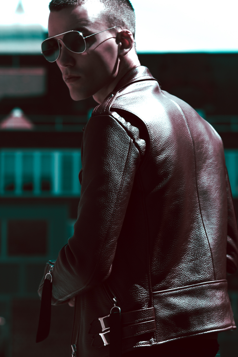 Leather Jacket  Matthew Miller England,  Sunglasses  Acne Studios.