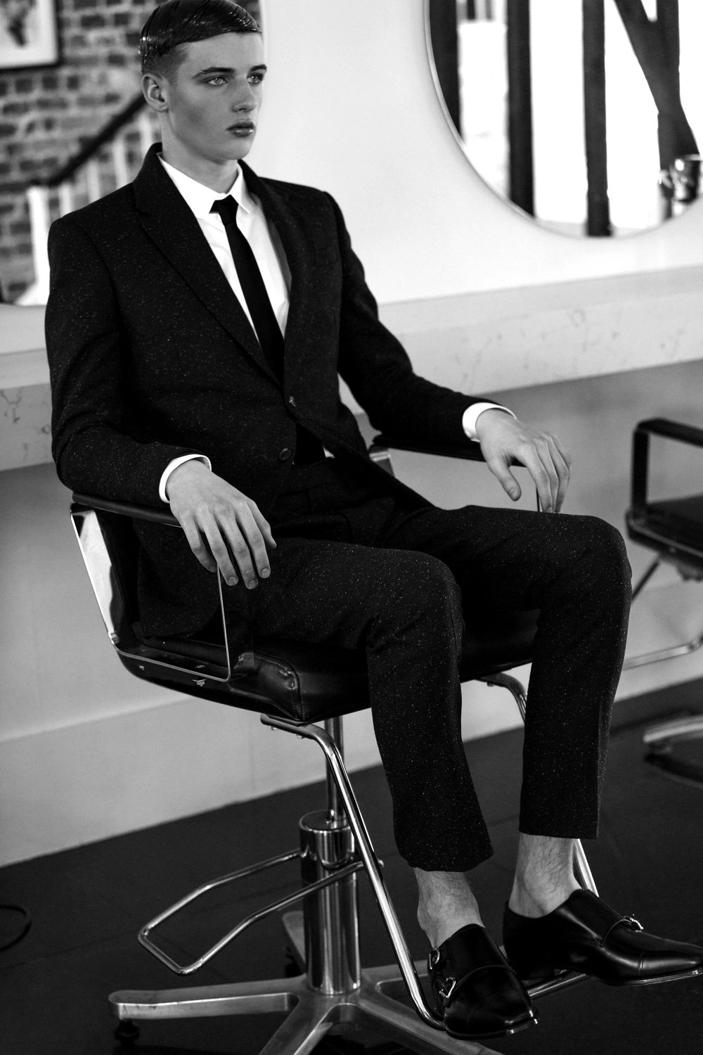 Black Suit  Joshua Kane , Shirt  Topman , Shoes  Mount Street Shoe Company , Sunglasses  Dior Homme .