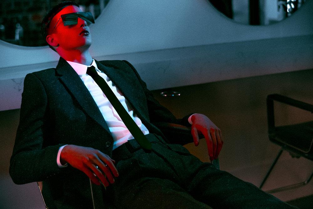 Black Suit  Joshua Kane , Shirt  Topman , Sunglasses  Dior Homme .
