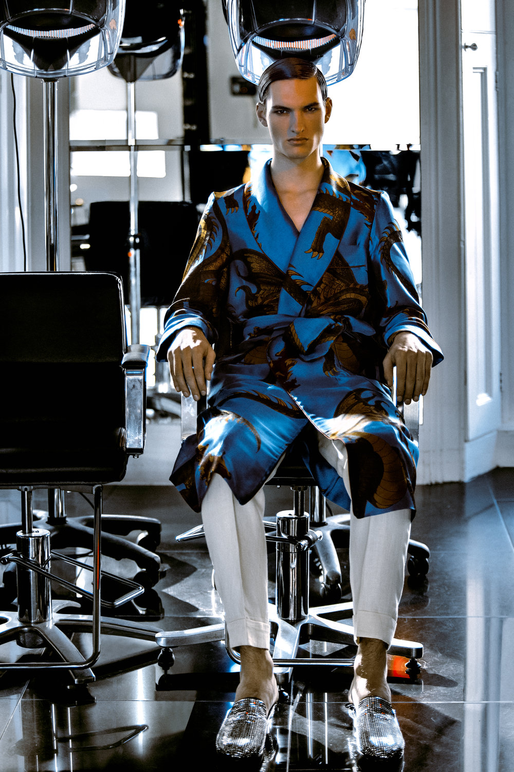 Blue Dressing Gown  New & Lingwood , Trousers  New & Lingwood , Silver Slippers  Giuseppe Zanotti .