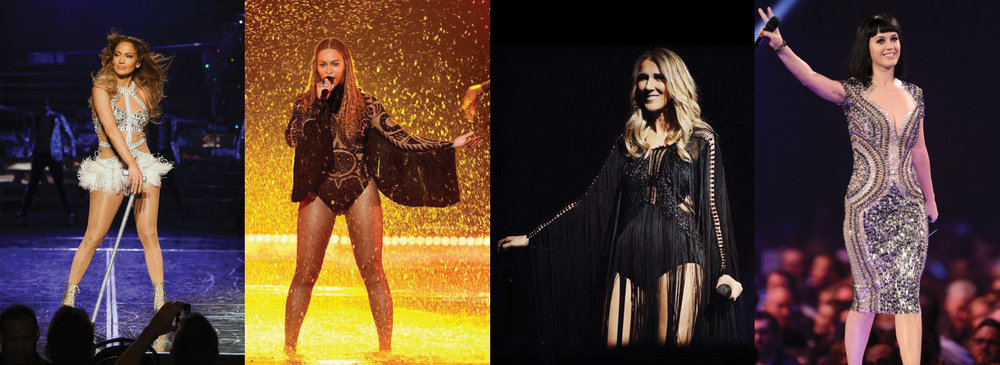 Jennifer Lopez All I Have - Vegas Residency, Beyonce Bet Awards, Celine Dion International Arena Tour, And Katy Perry At Brit Awards Wearing Julien Macdonald couture pieces.