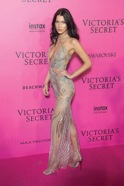 Bella Hadid at Victoria's Secret after party Wearing Julien Macdonald