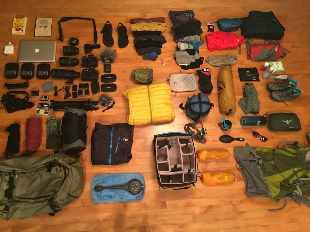 Almost all of our gear for the trip. We both are carrying a 70 liter backpack. (Photo taken with iPhone 6)