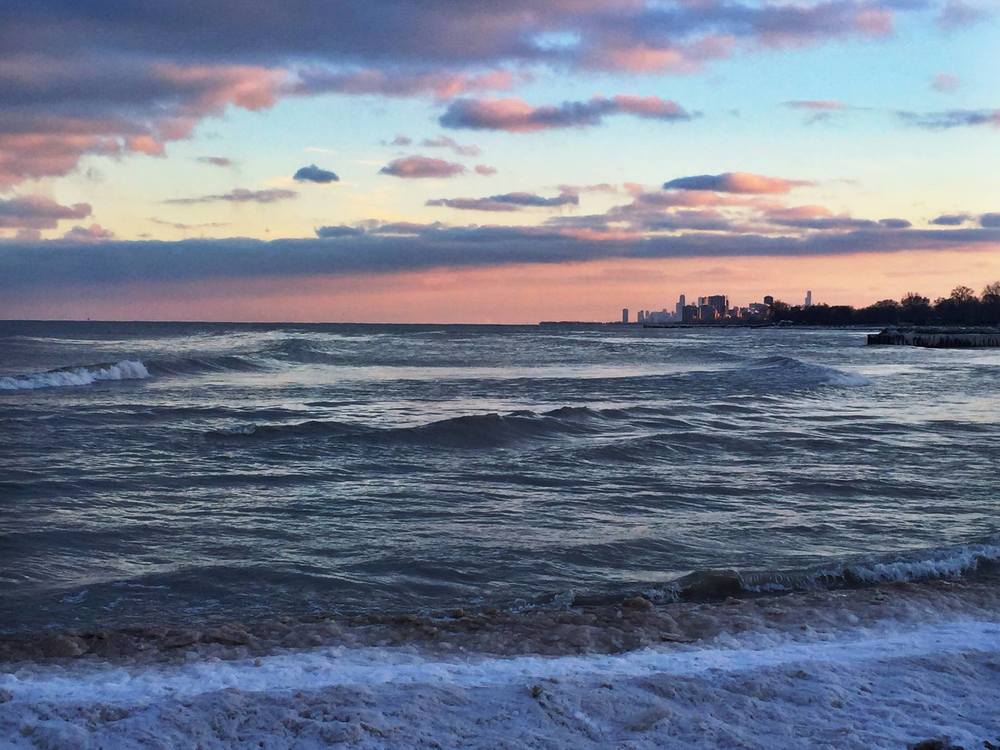 Chicago skyline from Northwestern University's Evanston campus; February 2016