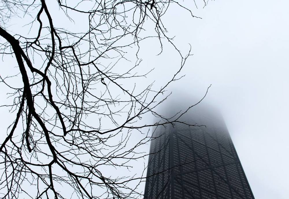 John Hancock Center in the clouds; April 2016