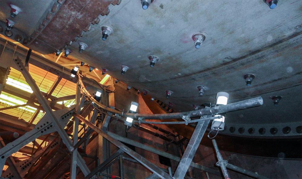 Underside of sag mill showing impactmeter sensors