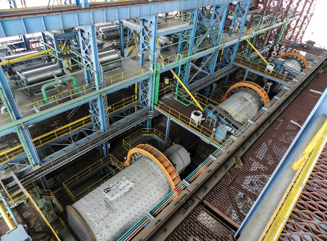 THREE OF THE FOUR BALL MILLS INSTALLED AT THE JINDAL SAW IRON ORE BENEFICIATION PLANT IN INDIA