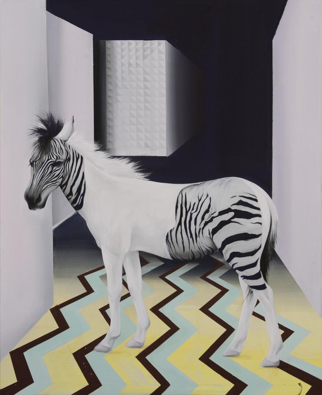 "JINA PARK // ""Zebra lost in the maze"", Egg tempera on canvas 160 x 130 cm, 2015"