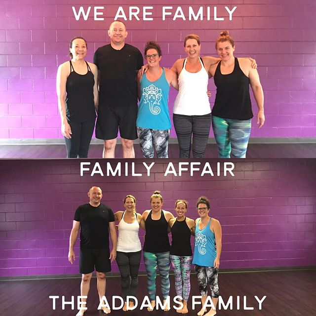 I couldn't pick which caption I liked the best so I used them all.  I love these souls.  They are part of our family by choice.  Thank God for family! #family #yoga #yogafamily #familybychoice #leaningdogyoga #fearlessyogis #lovetheseguys #support #connection #addamsfamily #familyaffair #wearefamily