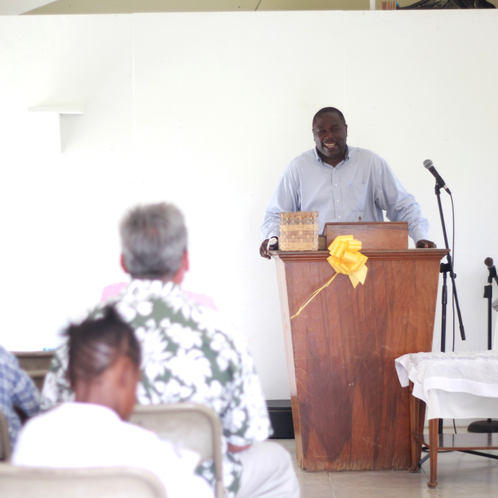 Brother Moss speaking on Sunday Morning.