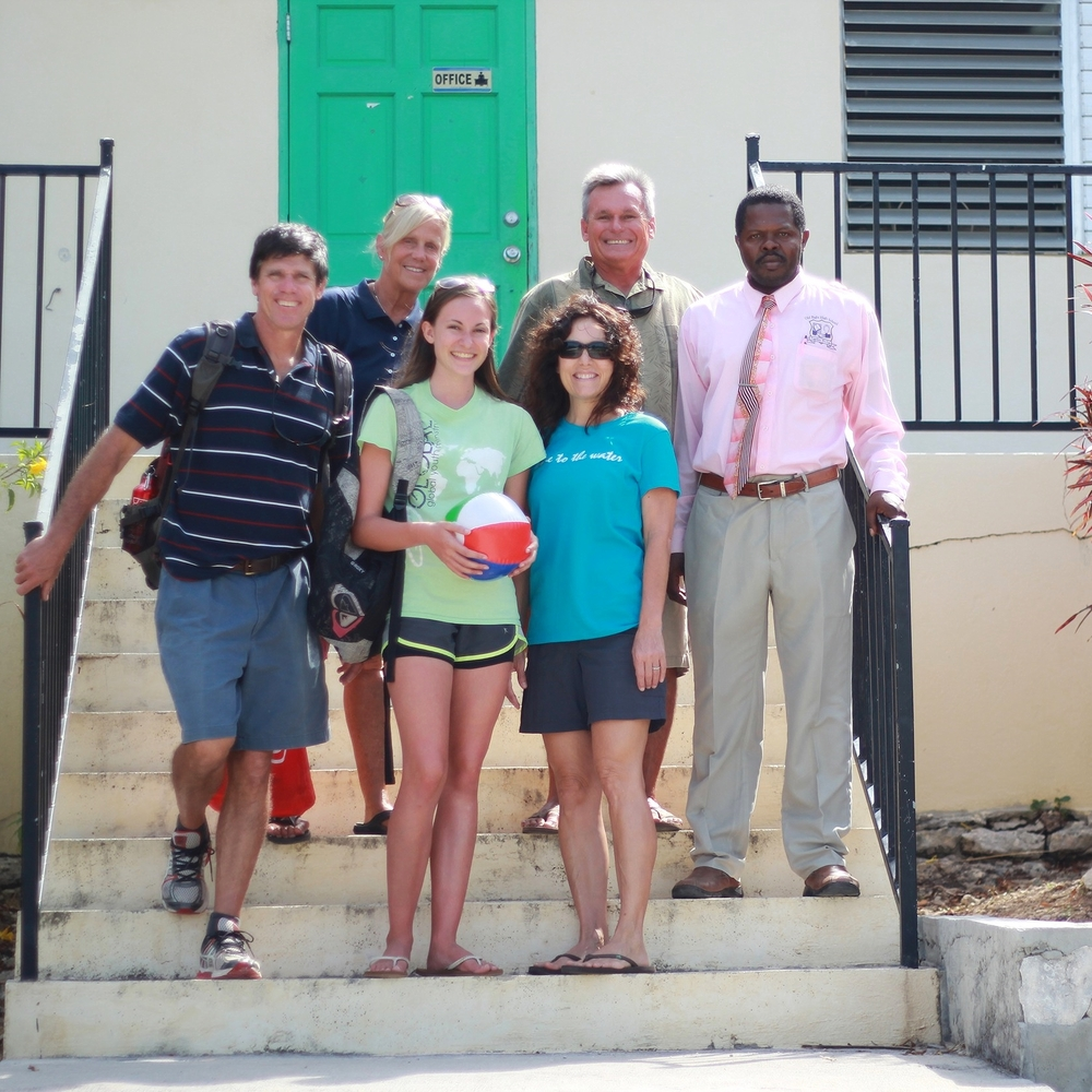 The Driftwood team with Principal Jerome Forbes at Old Bight High School.