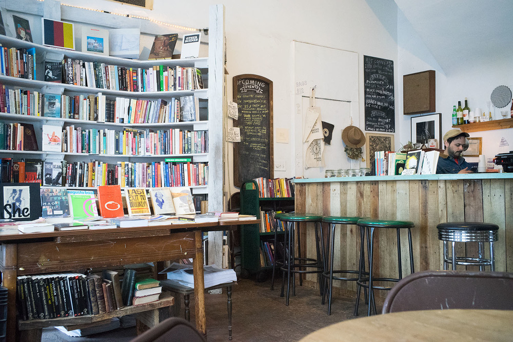 Molasses Books in Bushwick has a great selection of used books and some pleasant places to sit while you drink coffee and beer and write poetry all day. Molasses Books, 770 Hart St, Brooklyn.
