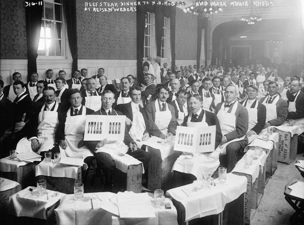 Beefsteak dinner at Reisenwebers to honour H.H. Rogers & Mark Twain,Apr. 1908
