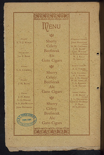 A Beefsteak Dinner menu for the Brotherhood Of Commercial Travelers, December 27, 1899. Via NYPL