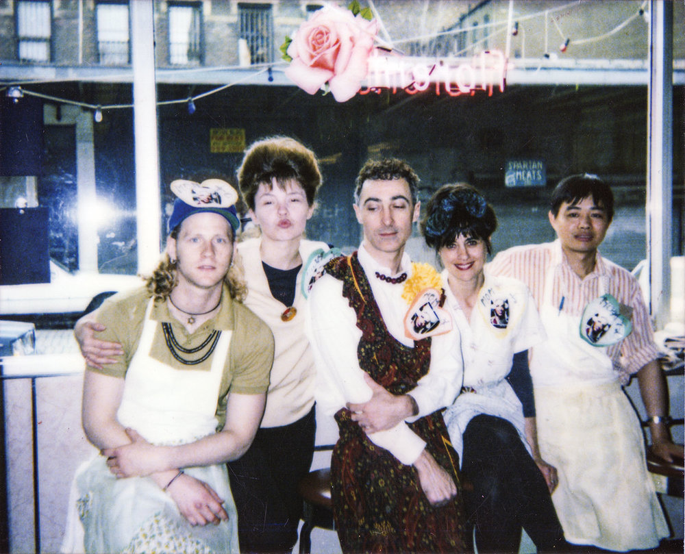 Tom Eubanks, the author, Darinka, Joe Garrin, Nancy Alfaro and Mr. Chow at work in 1990 at Florent.