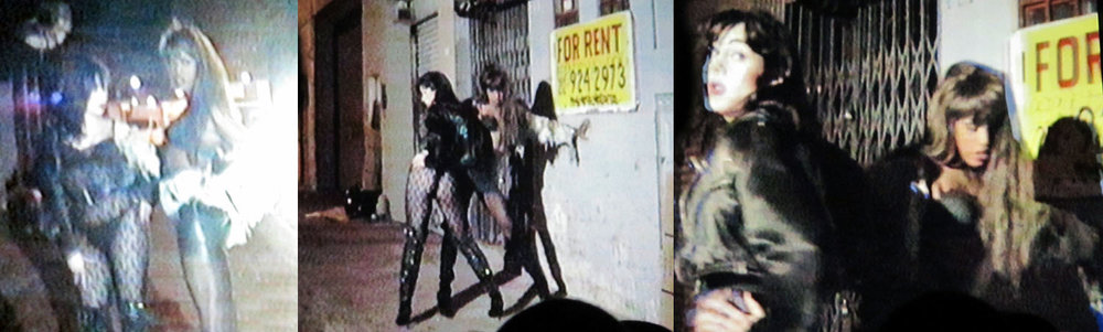 Connie Flemming and Gina Vetro strut down Gansevoort Street in Charles Atlas's video short, Butchers' Vogue, 1990.