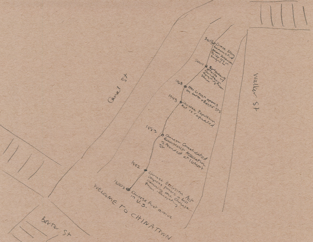 An early sketch of the timeline inlaid onto the Canal Street Triangle.