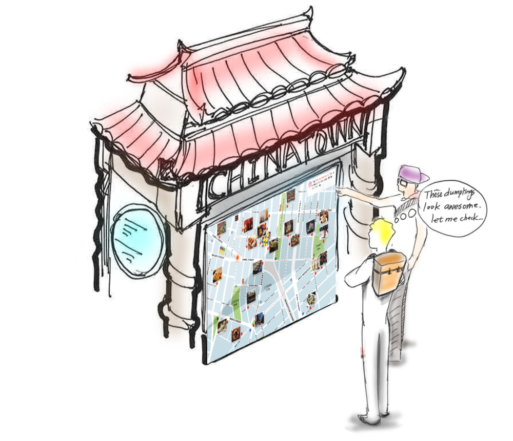 A rendering of the interactive photo map by teammates Wei Ting Kuo and Yue Lilian Yuan