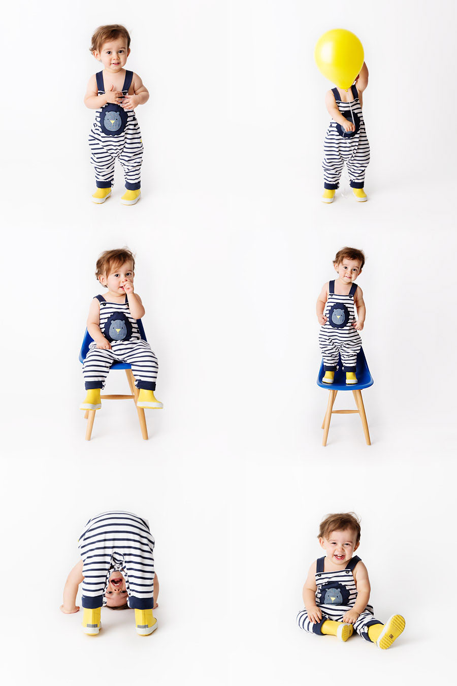Toddler in striped rompers playing with yellow balloon by baby fashion photographer Lisa Tichane