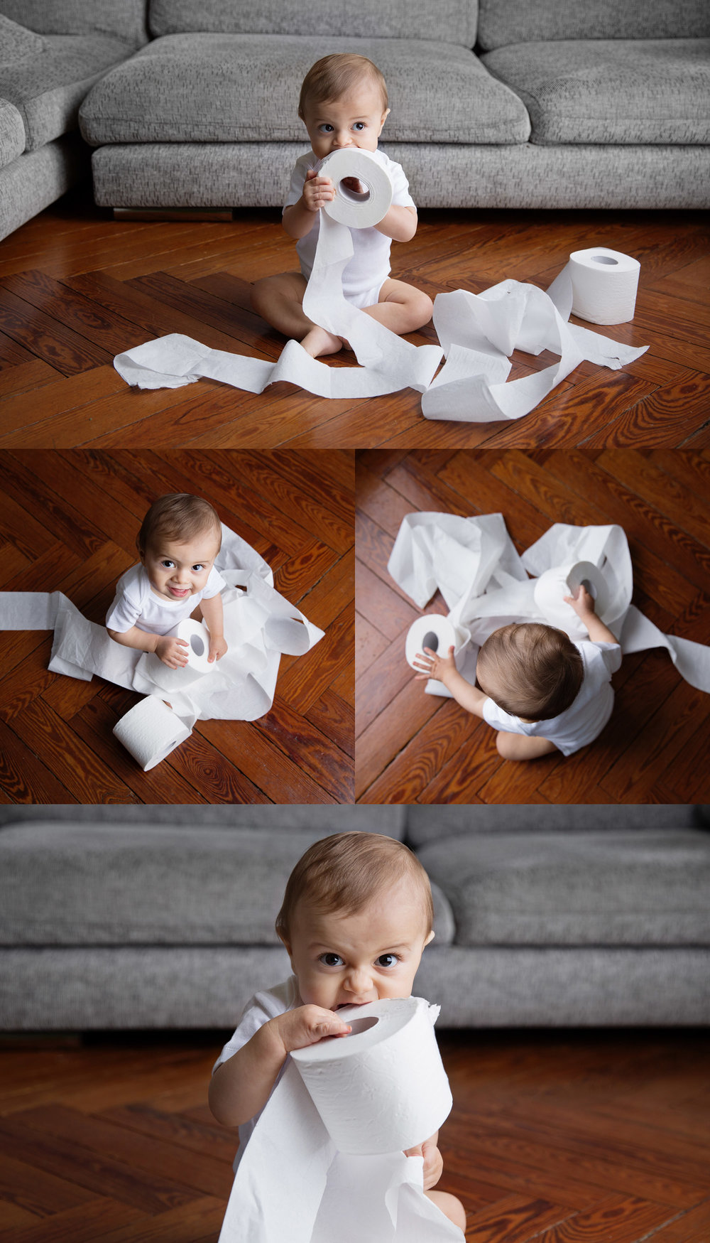 Baby making mess with toilet paper rolls by baby commercial photographer Lisa Tichane
