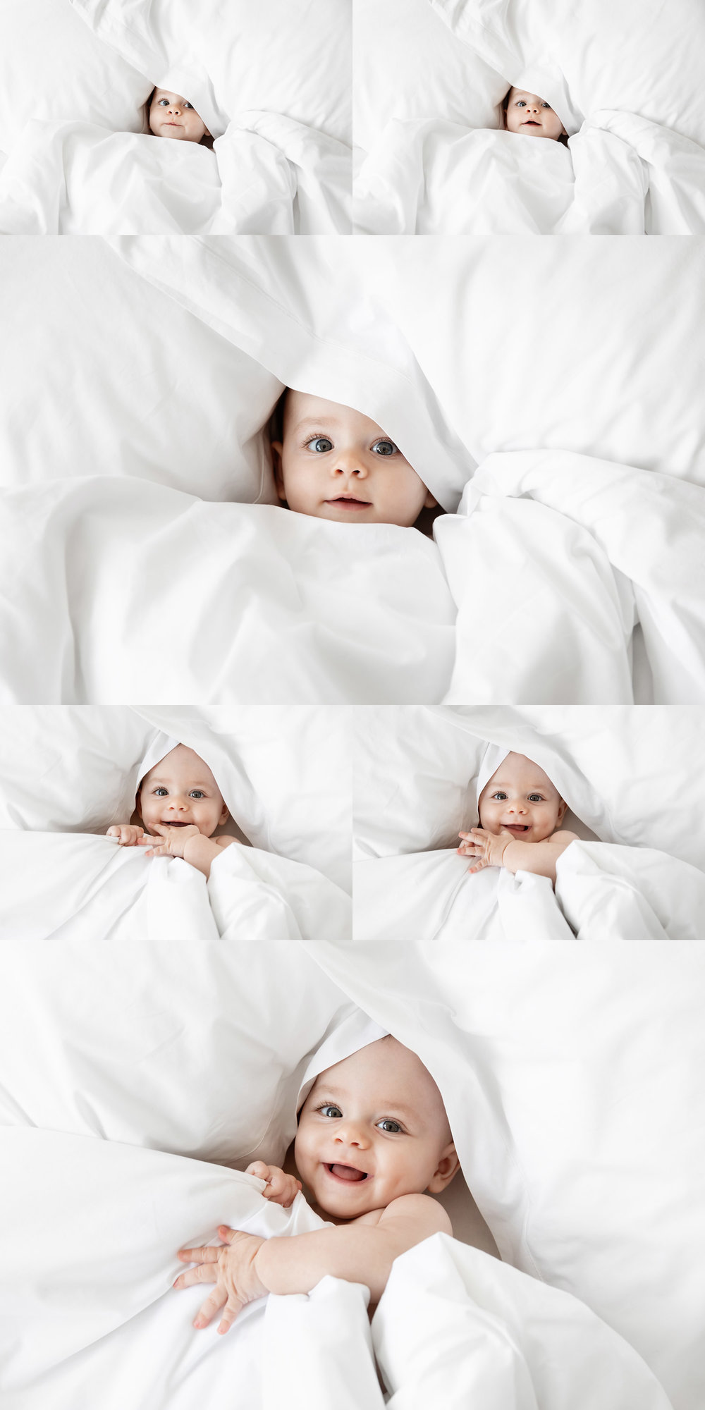 Cute baby face peeking out of white duvet cover by commercial baby photographer Lisa Tichané
