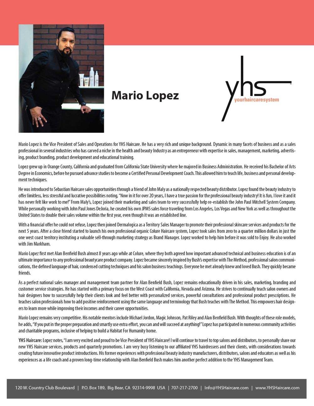 Mario Lopez Bio – YHS Haircare