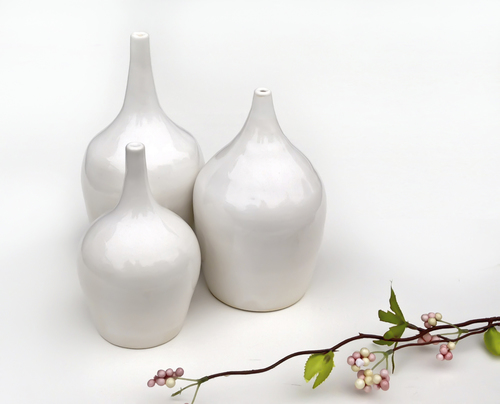 Trio Of White Vases Modern Mud