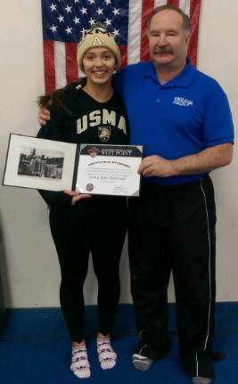 Serica Hallstead has committed to the United States Military Academy at West Point.  An All American student-athlete for the Canandaigua Academy, Serica will be graduating in the top 1% of her class of close to 300 students. For the CA Braves she has captured 3 Section V Titles (2012-2014). She was also a 4 time finalist at the NYSPHSAA championships (2012-2015) where she finished as high as 4th place in 2013. For Blue Wave she was the 2013 District Champion in the Group B (14/15 Age Group) 1M and 3M events as well as the 2014 Group A (16/18 Age Group) 1M champion. In 2013 Serica qualified for the USA Diving Age Group National Championships. She is also a 4 time AAU All American and the 2014 AAU National Champion in the Group A (16/18 Age Group) 1M Synchronized Diving Event!