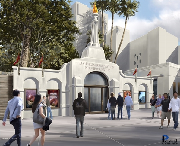LA Coliseum Preview Center, Exterior Facade Rendering