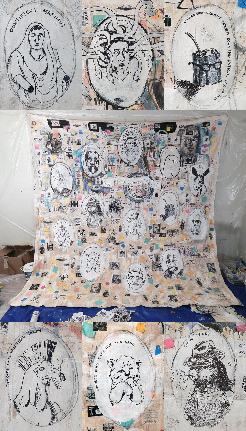 """Central Committee, November 2071 (Revolt of the Swivel Chairs)"" in progress by Adam Turl (with details). Acrylic, Sharpie, ink, stickers, post-it notes, staples, coffee and mixed-media on canvas tarp.(Las Vegas studio, 2017)"
