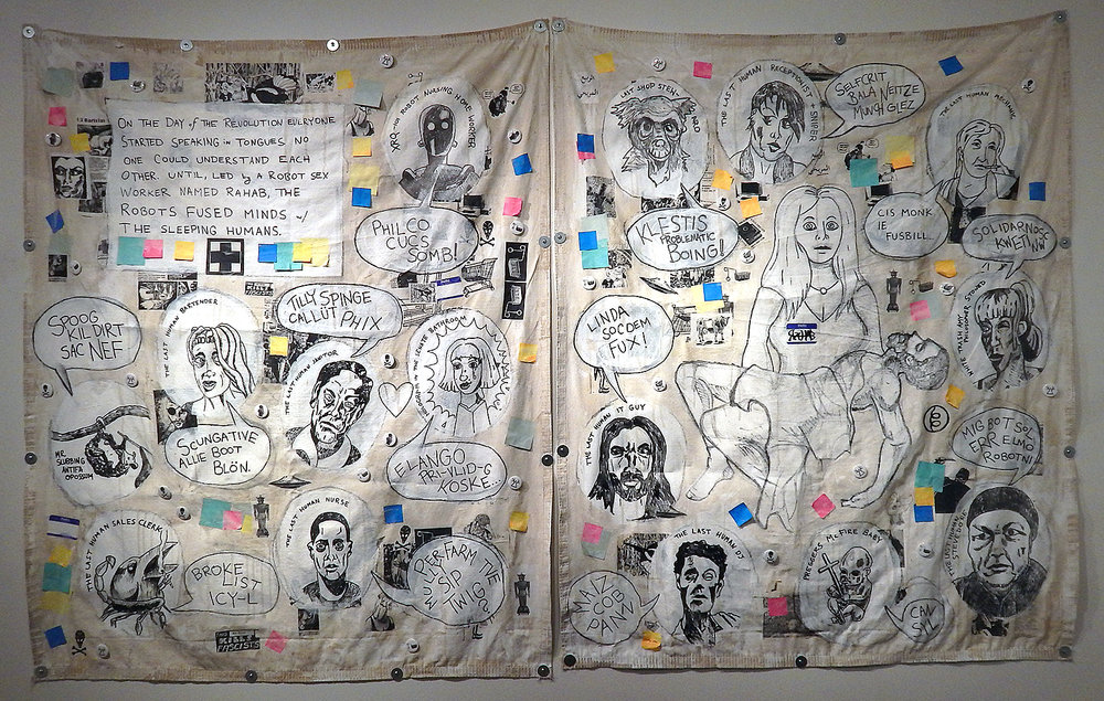 Rahab . Acrylic, stickers, marker, photocopies, post-it notes, coffee and mixed media on canvas tarps (2017-2018) (Adam Turl)