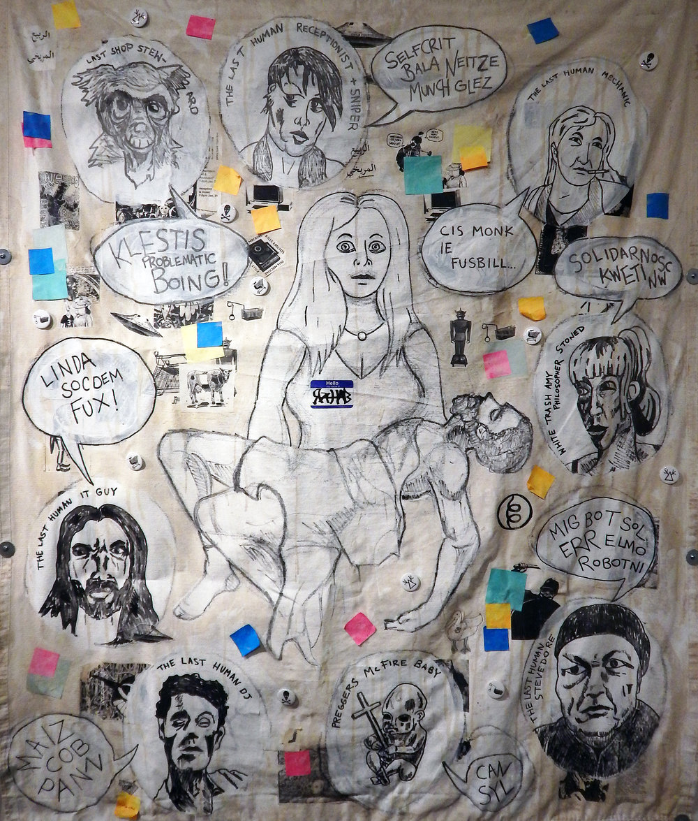 Rahab (Revolt of the Swivel Chairs).  Detail. Acryic, stickers, marker, buttons, post-it notes, stapes, coffee and mixed media on canvas tarps. (2017-2018).