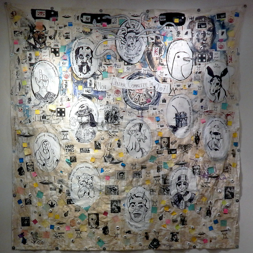 Central Committee (2071)    Acrylic, stickers, marker, photocopies, post-it notes, coffee and mixed media on canvas tarps (2017-2018)
