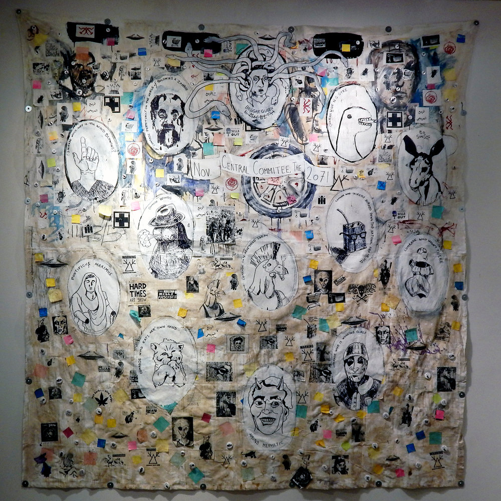 Central Committee 2071 (Socialist League for a United Revolutionary Party) . Acrylic, stickers, marker, photocopies, buttons, post-it notes, coffee and mixed media on canvas tarp (2017) (Adam Turl)