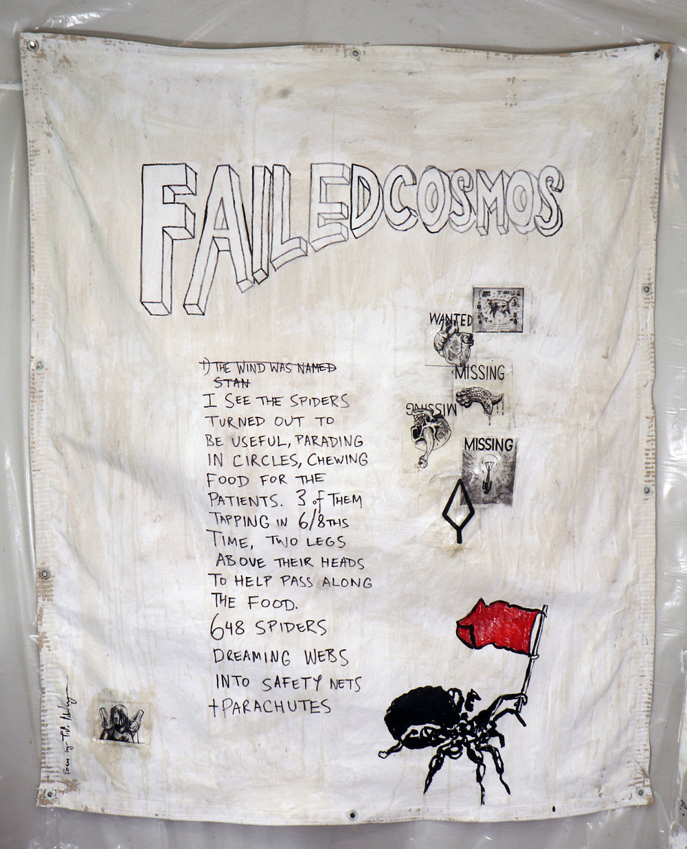 Failed Cosmos: 648 Spiders . Based on a poem by Tish Markley. Acrylic, coffee, stickers and mixed media on canvas tarp.