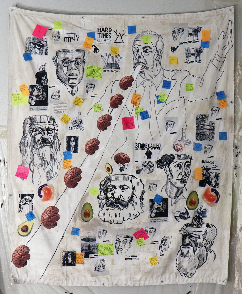 Erasure Chancellor / Carlo Montemagno Eats Brains    Acrylic, ink, photocopies, stickers, post-it notes, coffee and mixed media on canvas tarp (2018).