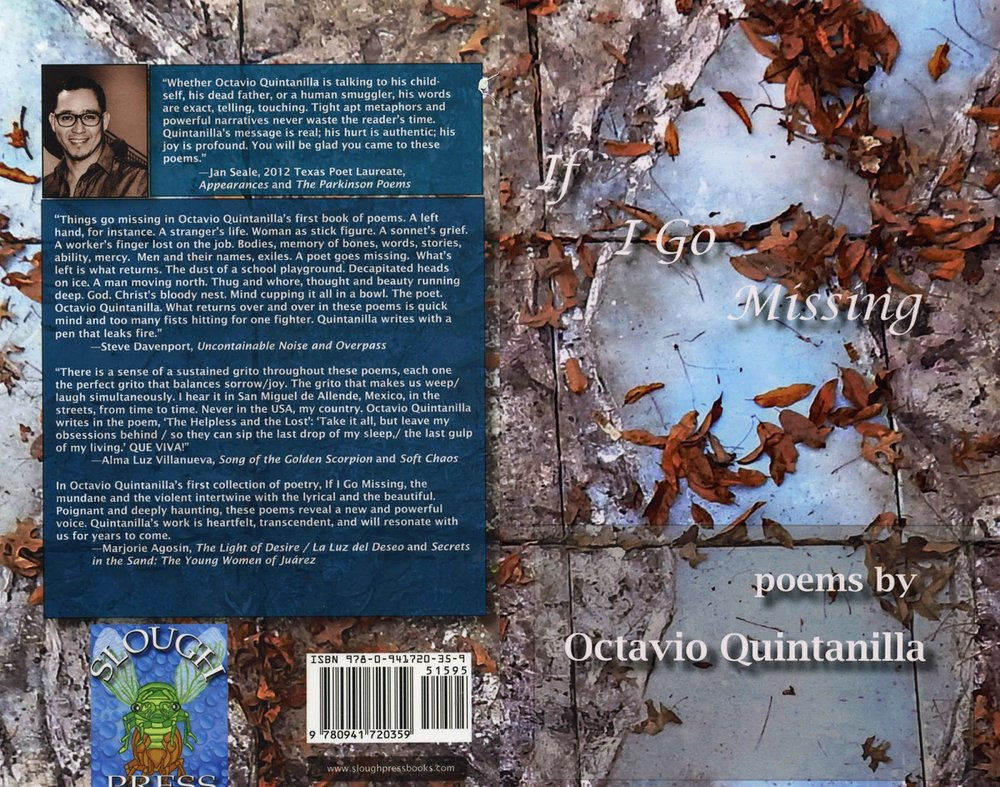 Cover art for Octavio Quintanilla's  If I Go Missing  (Slough Press, 2014). (Adam Turl)