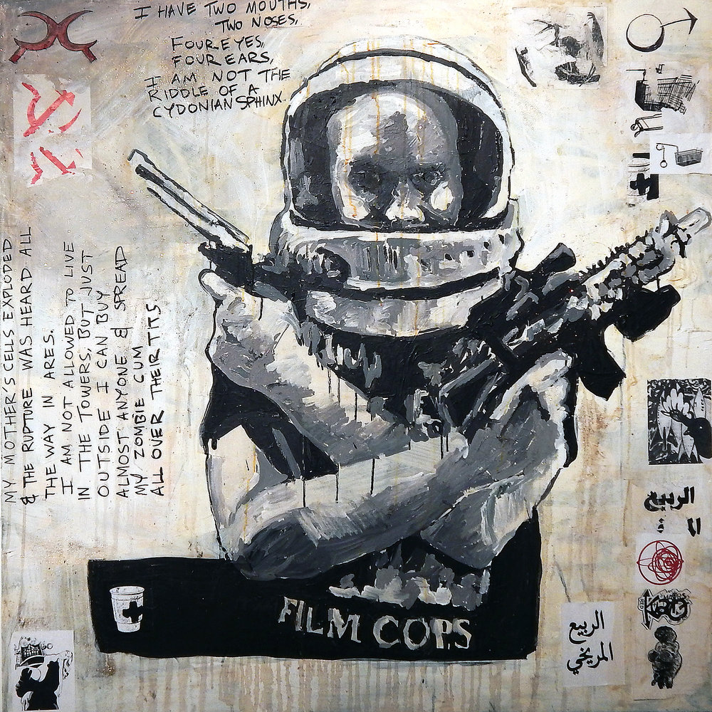 Kuato (Red Mars).  Acrylic, stickers, wheat-paste, glitter and meteorite dust on canvas (2016).