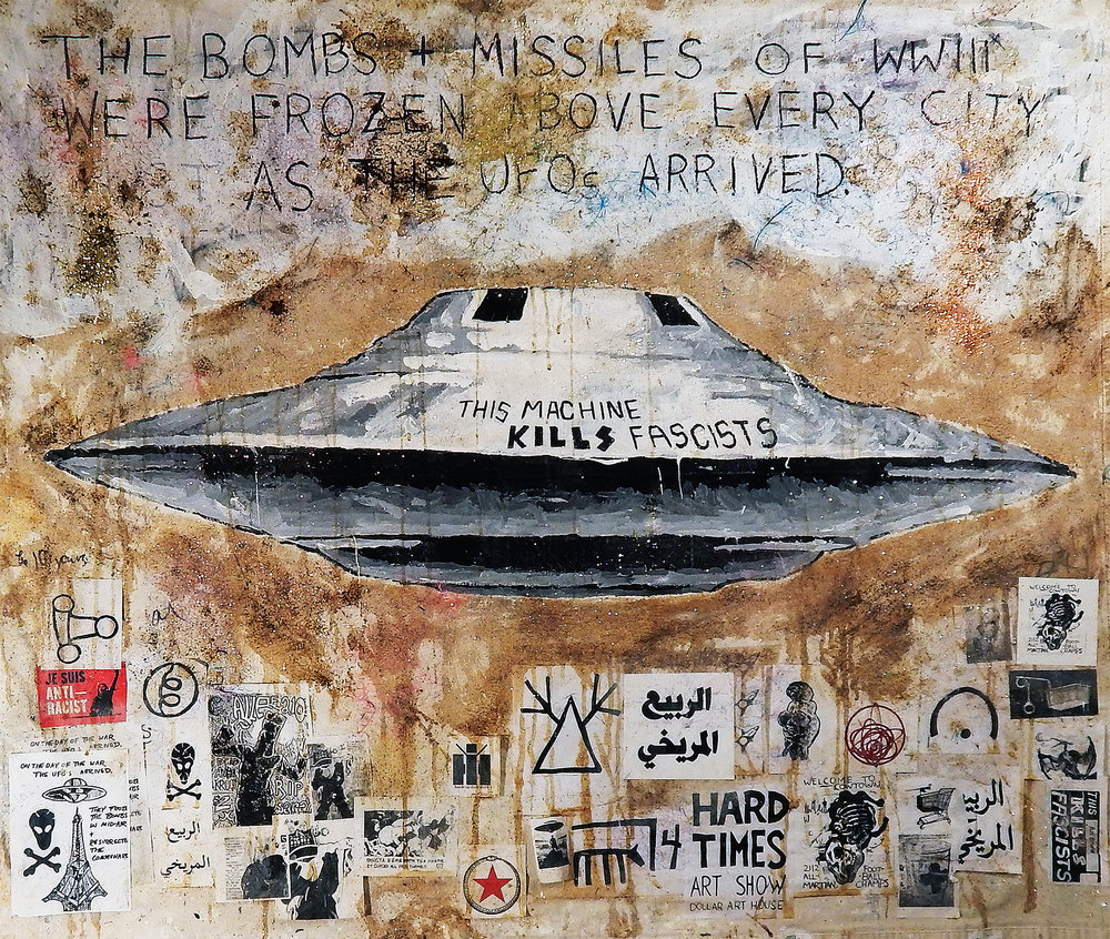 This UFO Kills Fascists (The Barista Who Could See the Future, 2016-2017). Acrylic, glitter, wig-hair, coffee, cotton and mixed-media on canvas. Medium Poster: $22.32