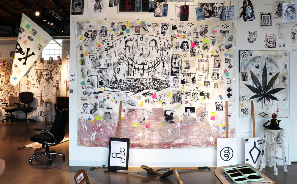 Ohio Erasure Castle (The Barista Who Disappeared, 2018), painting and installation at Artspace 304. Acrylic, stickers, photocopies, marker, ink, clay slip, mixed media on canvas tarp. Medium Poster: $23.32