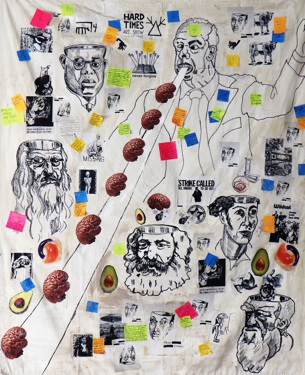 Erasure Chancellor / Carlo Montemagno Eats Brains (2018). Acrylic, marker, stickers, coffee, buttons, clay, post-it notes and mixed media on canvas tarp. Medium Poster: $23.32