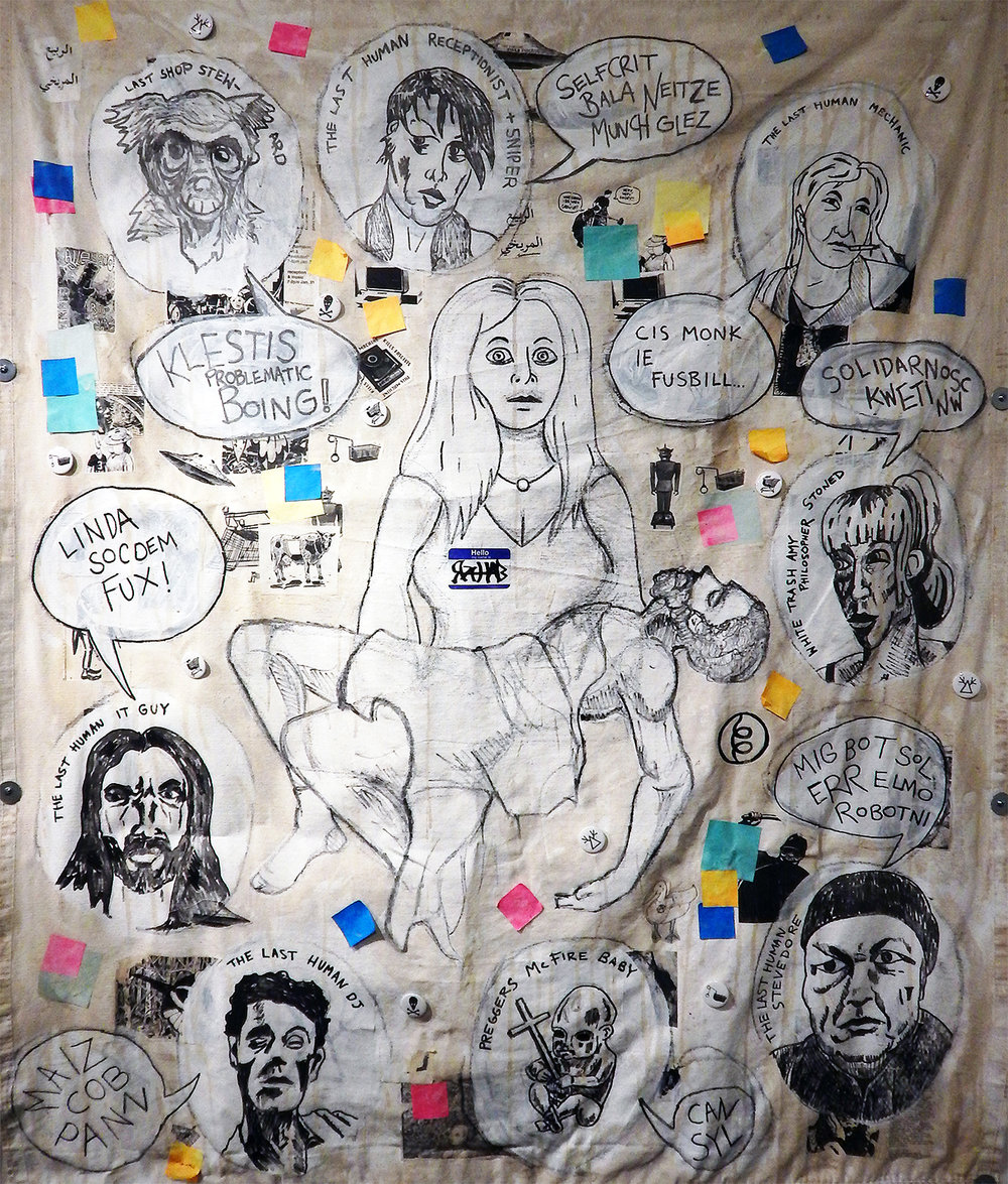 Rahab (Detail, Revolt of the Swivel Chairs, 2017-2018). Acrylic, marker, stickers, coffee, buttons, post-it notes and mixed media on canvas tarp. Large Poster: $31.24