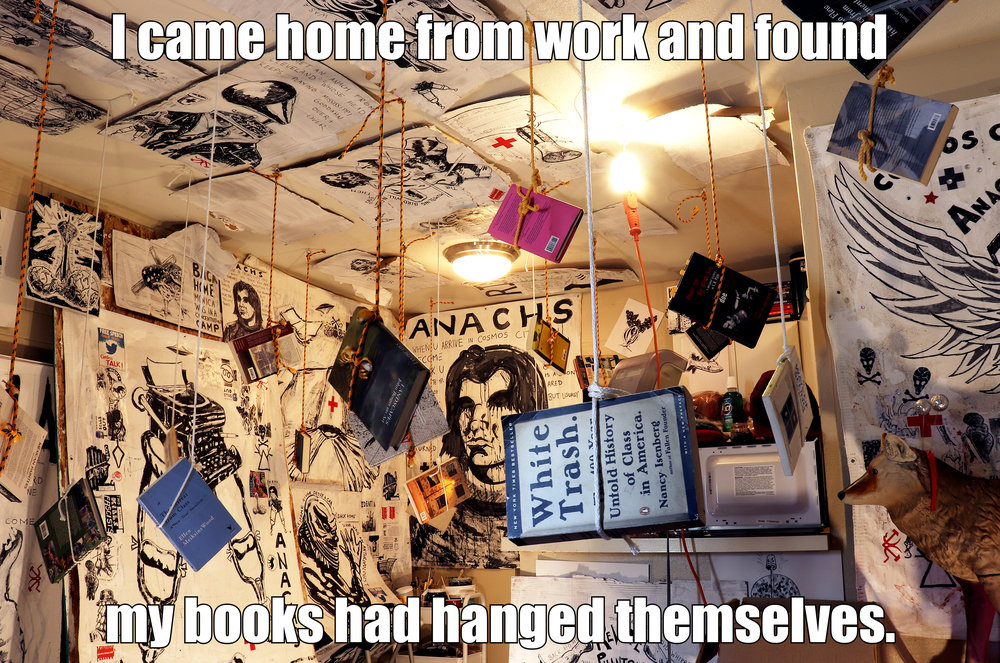 My Books Had Hanged Themselves (Anachs). Mixed-media acrylic paintings, found objects, rope, books (2018). Small Poster: $13.39.